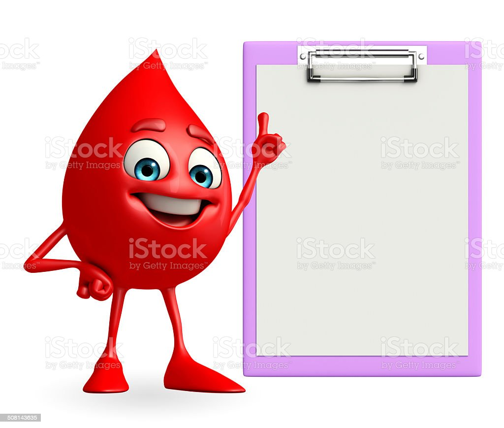 Blood Drop Character with notepad stock photo
