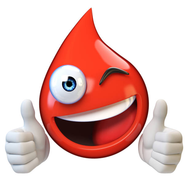 Blood droplet mascote with smiling face stock photo