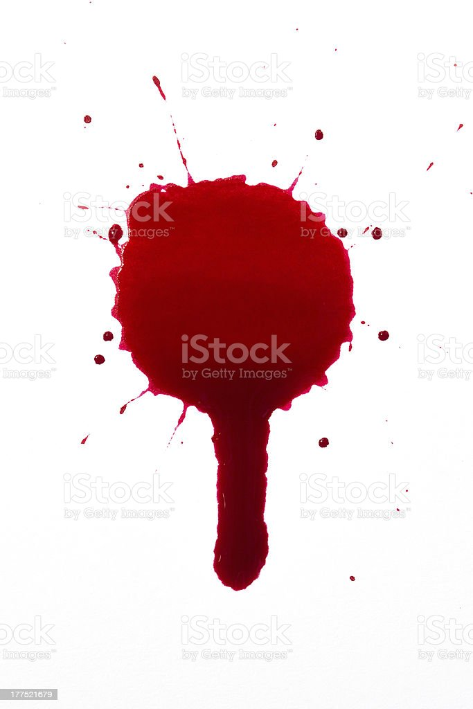 Blood droplet splat and drip stock photo