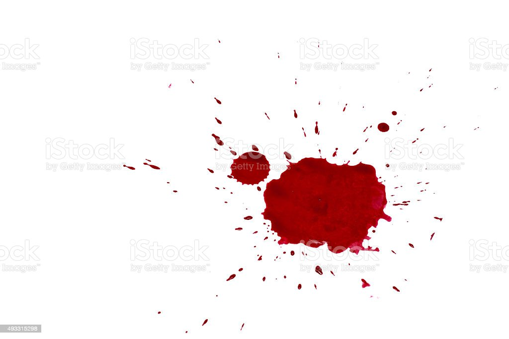 blood drops isolated on white background stock photo