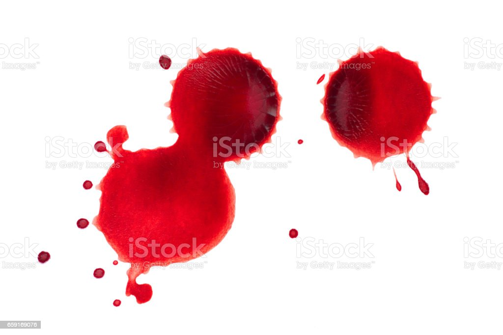 Blood drops on white background stock photo