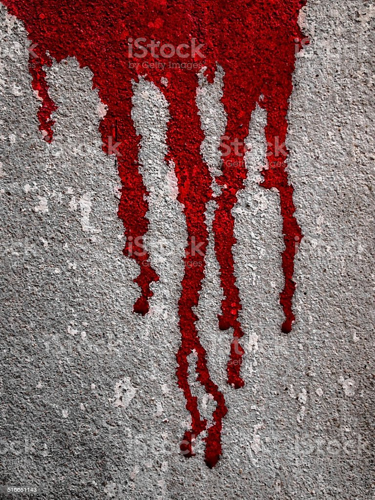 Blood flow on wall stock photo