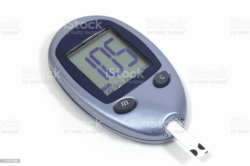 Blood Glucose Monitor - Normal Test Results stock photo