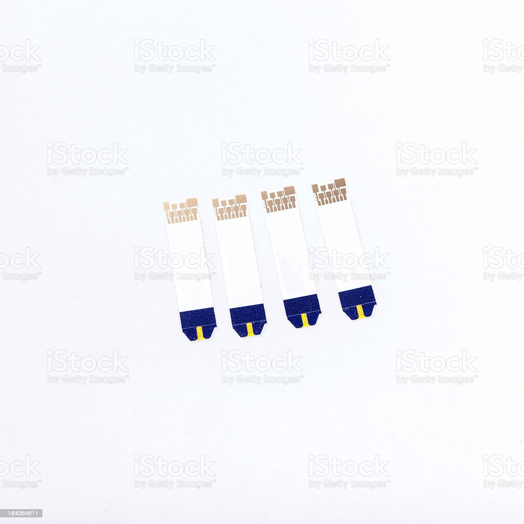 blood glucose test strip stock photo