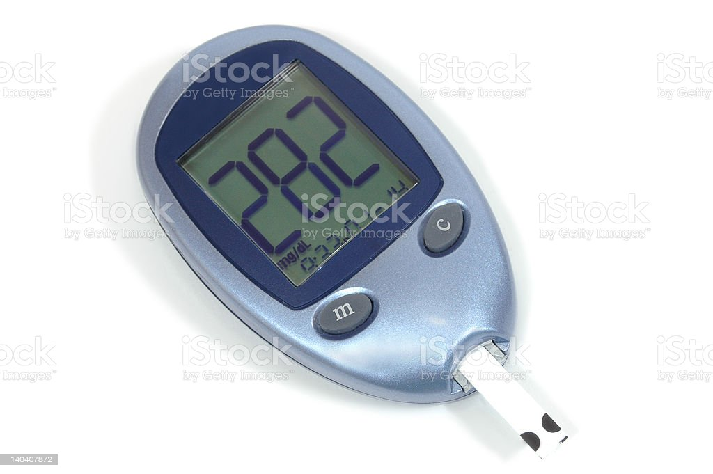 Blood glucose testing device with high results stock photo