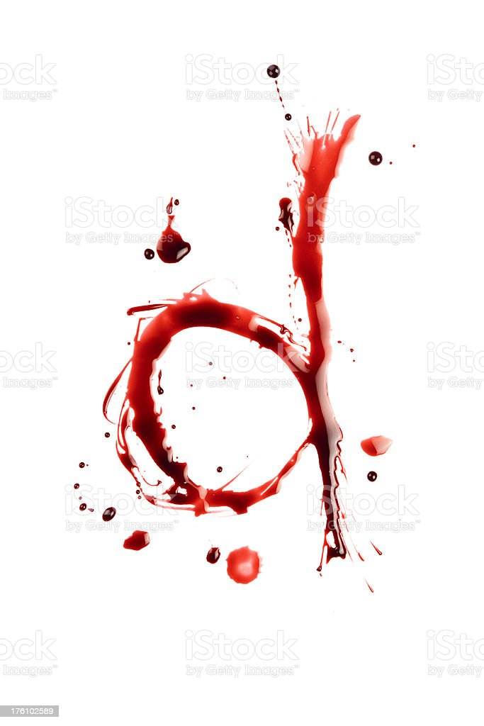 Blood Letter D Wet Lowercase royalty-free stock photo