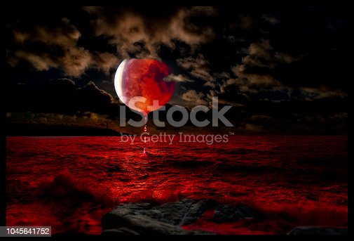 artistic work including blood moon, sea, clouds