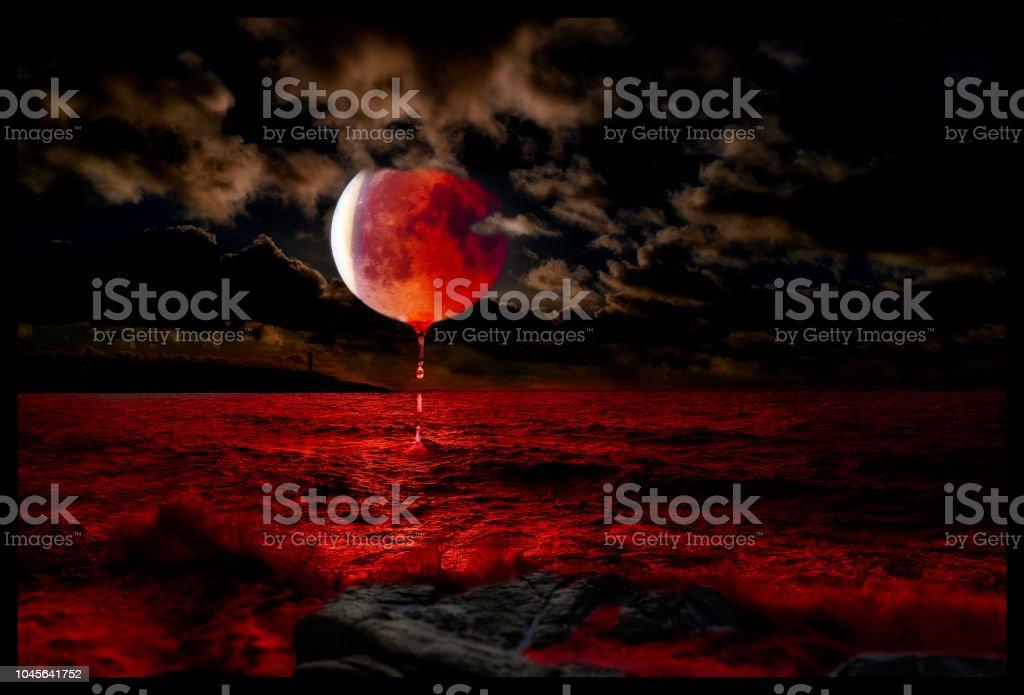 Bloed maan illustraties foto