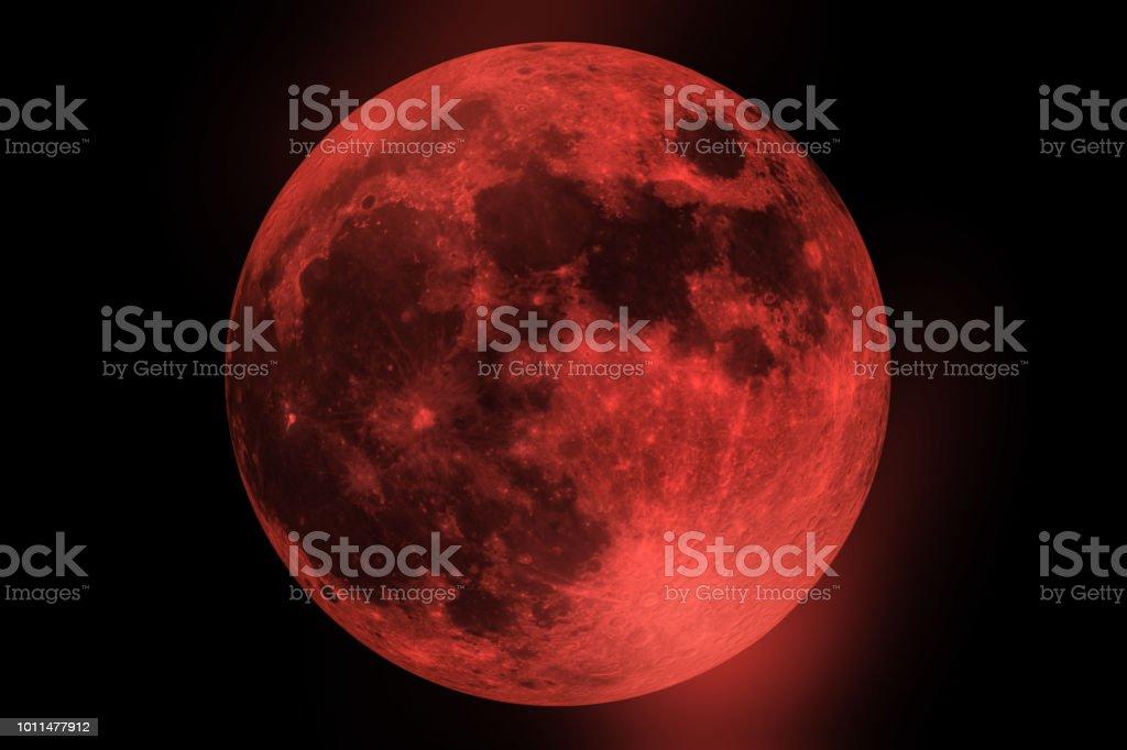 Bloed maan - volledige Maansverduistering in de nachtelijke hemel foto