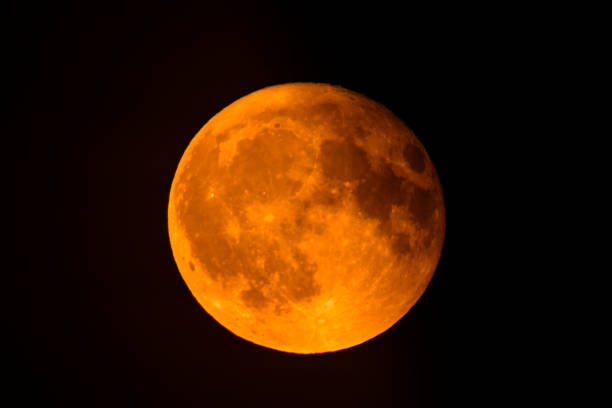 Blood moon full Lunar Eclipse in the night sky stock photo