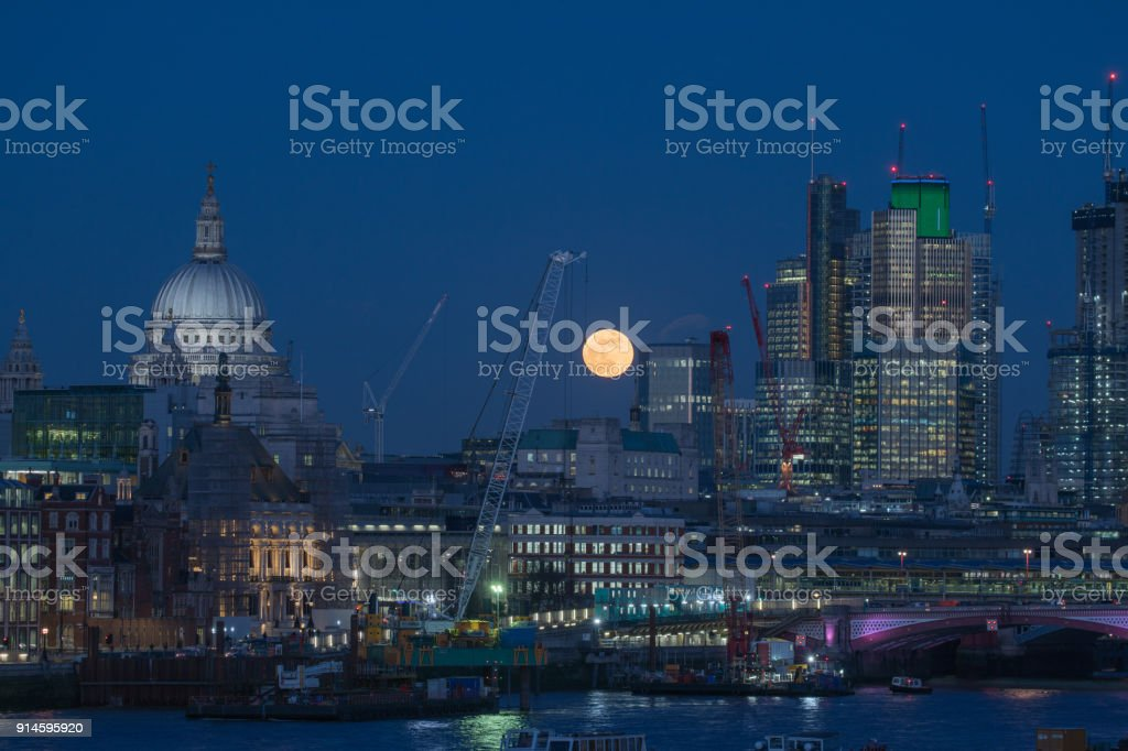 Blood Moon over London, January 31st 2018 stock photo