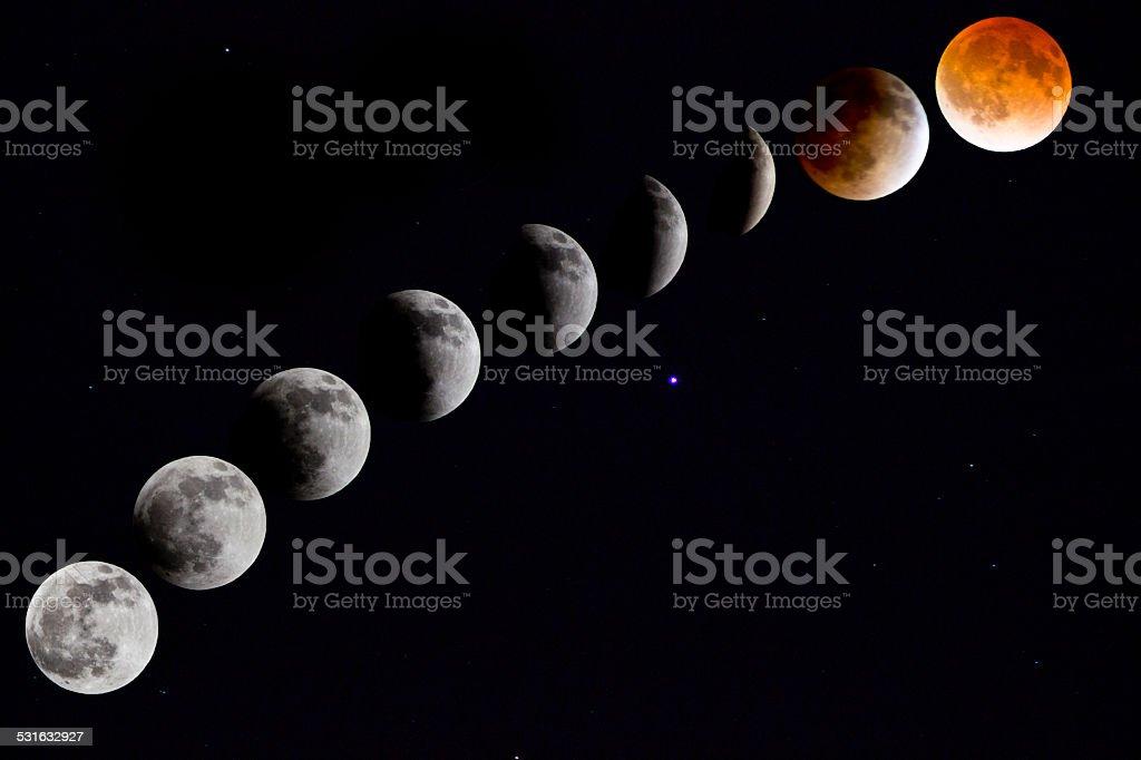Blood Moon Time Lapse stock photo