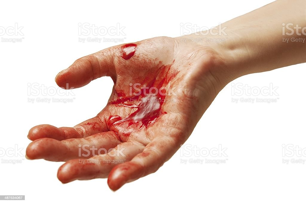 Blood on hand stock photo