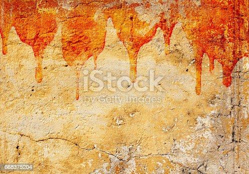 Halloween background. Blood on stucco wall