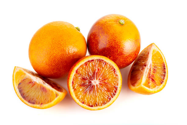 Blood orange isolated on white background stock photo
