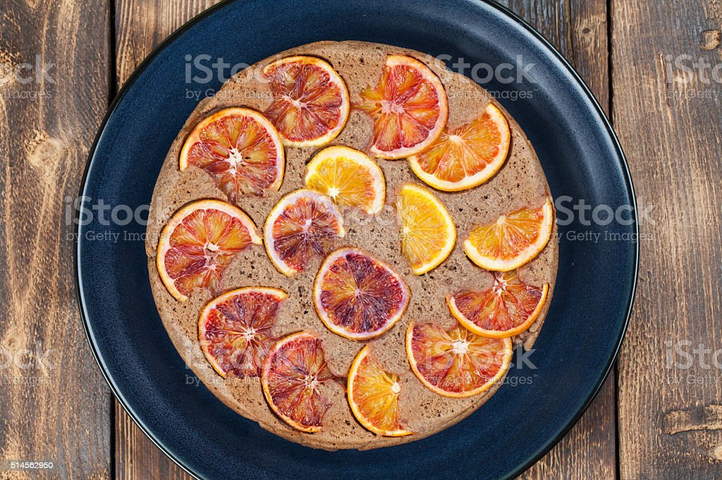Blood orange upside down cake stock photo