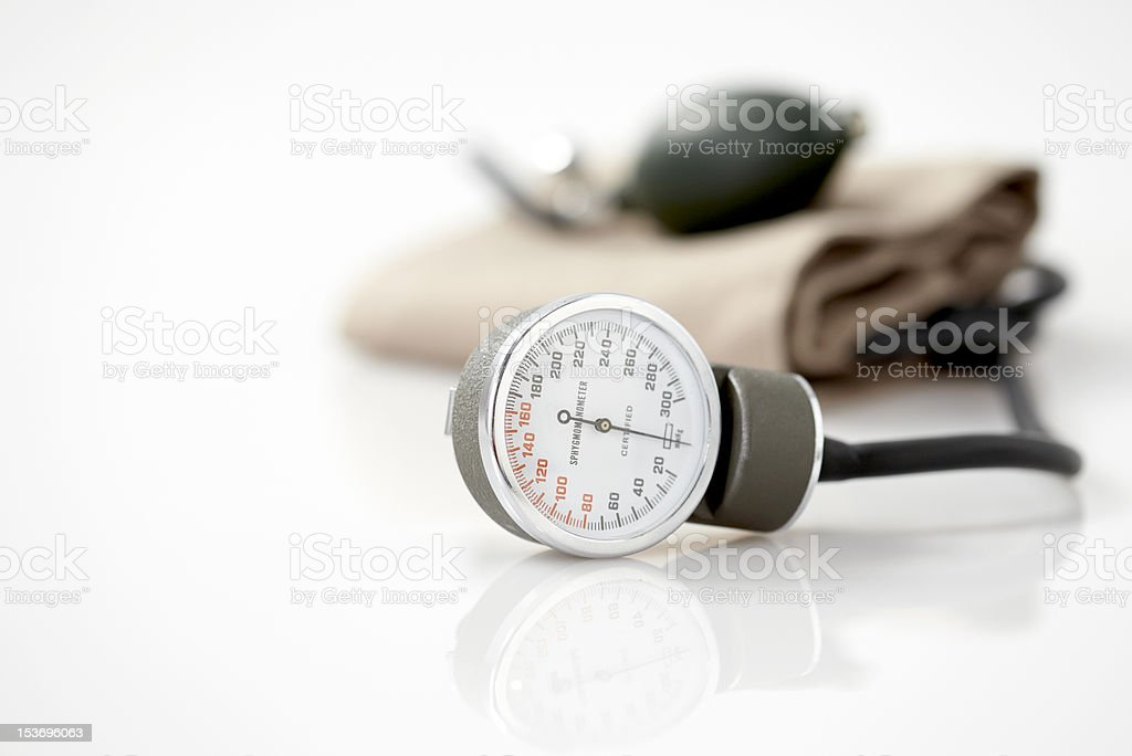 Blood pressure cuff isolated on a white background stock photo