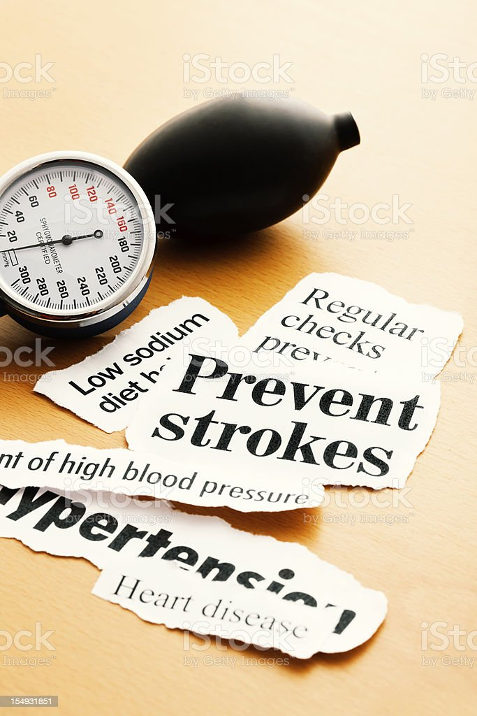 Blood pressure gauge with heart health headlines royalty-free stock photo