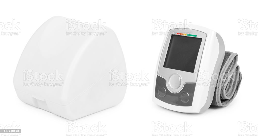 blood pressure measurement equipment tensiometer isolated on white background stock photo