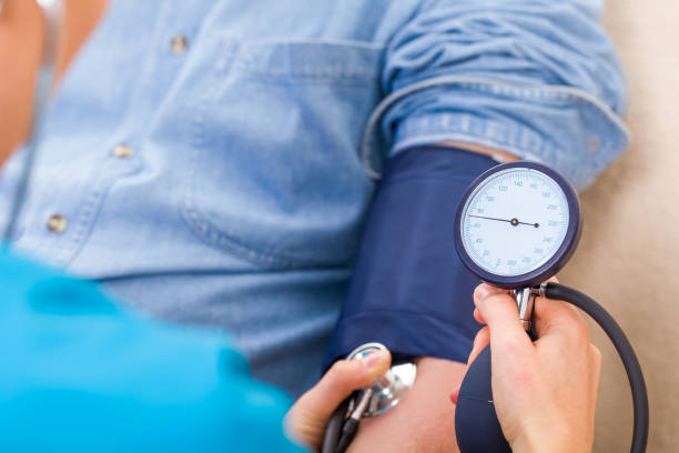 Blood pressure measurement stock photo