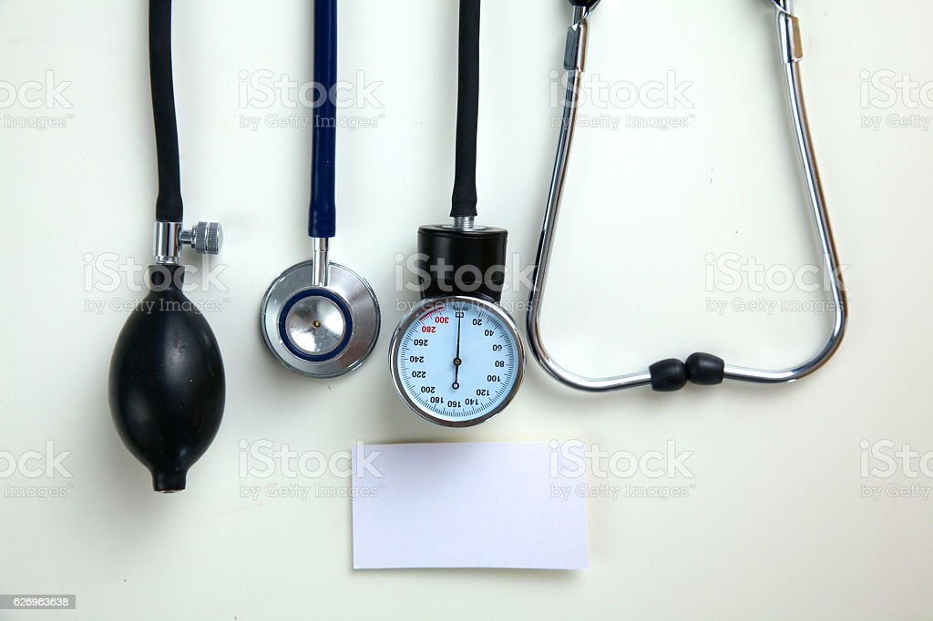 Blood pressure meter medical equipment isolated on white stock photo