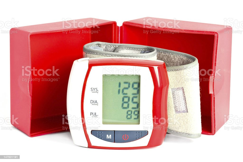 Blood pressure meter with a box royalty-free stock photo