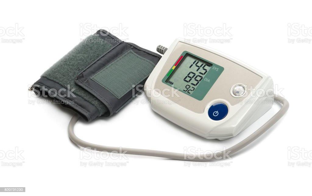 Blood pressure monitor (tonometer) on a white background stock photo