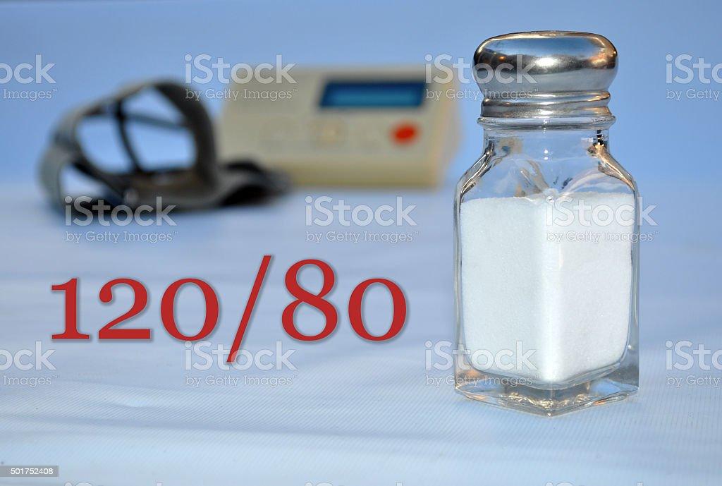 Blood Pressure, Salt, Hypertension, 120/80 stock photo