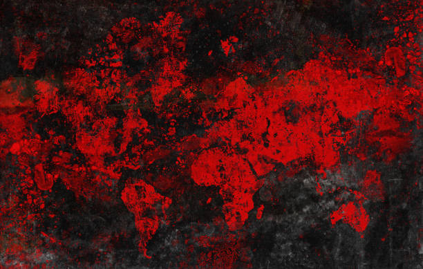 Blood red damaged world map stock photo