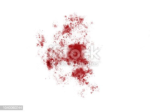 172646637 istock photo Blood red paint splattering on a white background 1040060244