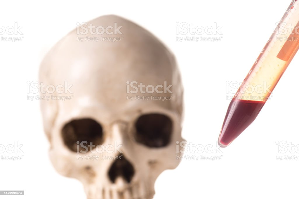 Blood sample and skull stock photo