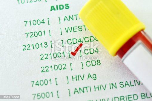 istock Blood sample tube for CD4 test 968416888