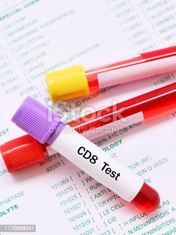 istock Blood sample tube for CD8 test 1170938041