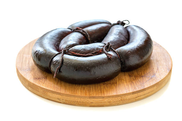 Blood sausage on a wooden stand. stock photo