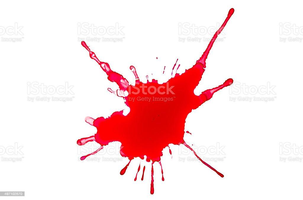 Blood splash on a white background stock photo