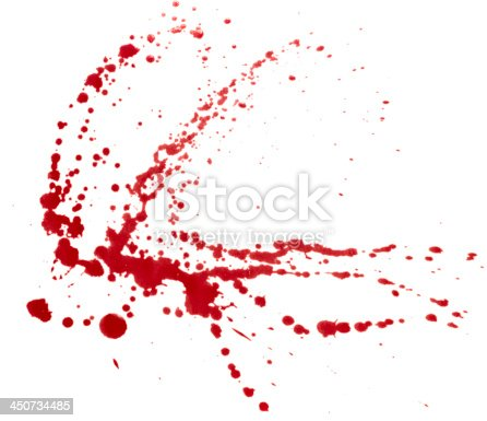 Blood splatter isolated on white. Clipping path.
