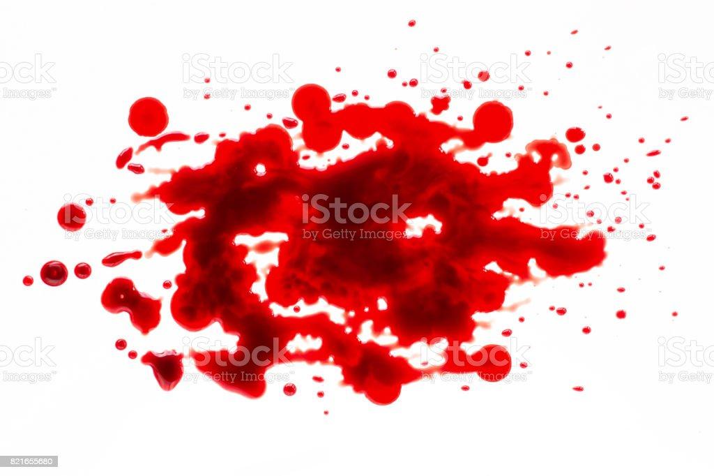 Blood splatter isolated on white stock photo
