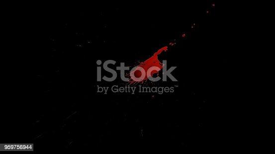 Blood Splatter Over Black Background.