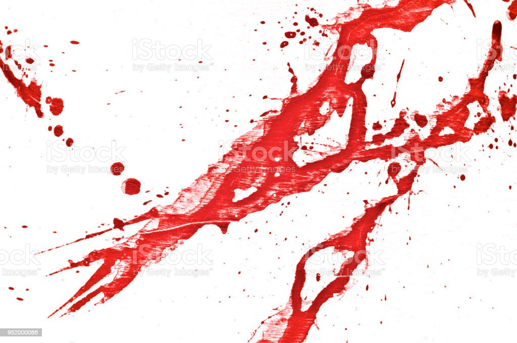 Blood splatter, red acrylic paint splash background texture grunge. Blood splash, spray. Abstract acrylic hand painted splash. Murder and killing. Close up. stock photo