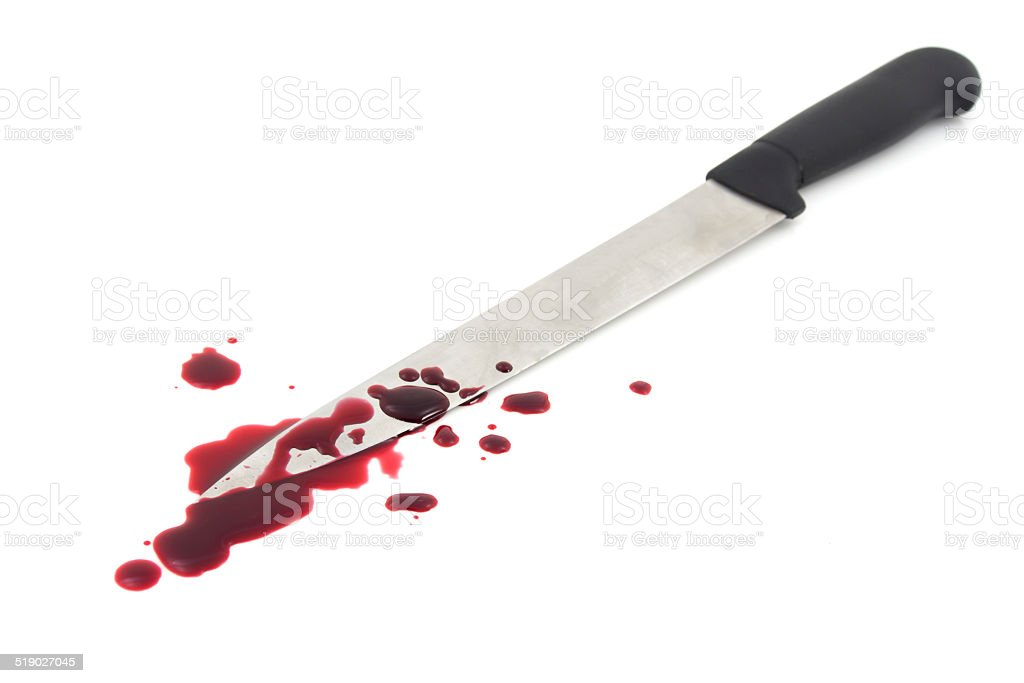 Blood splatter with kitchen knife stock photo