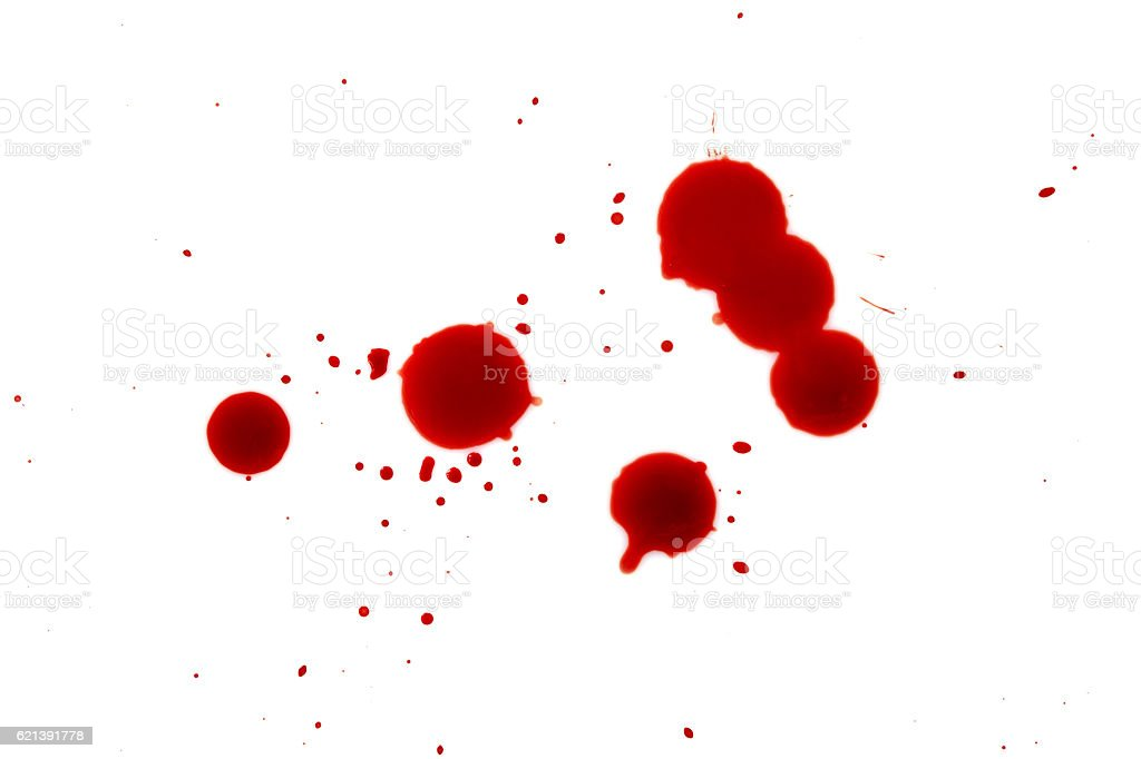 Blood splatters on white background stock photo