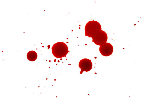 Blood splatters on white background - foto stock