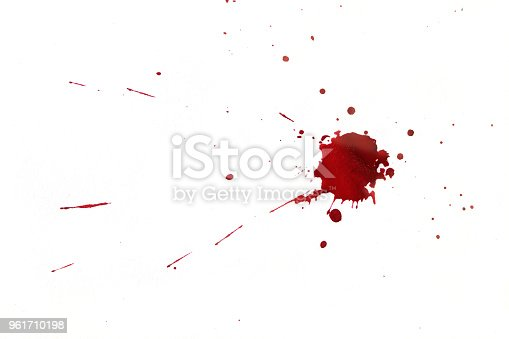 172646637 istock photo Blood splatters on white background 961710198