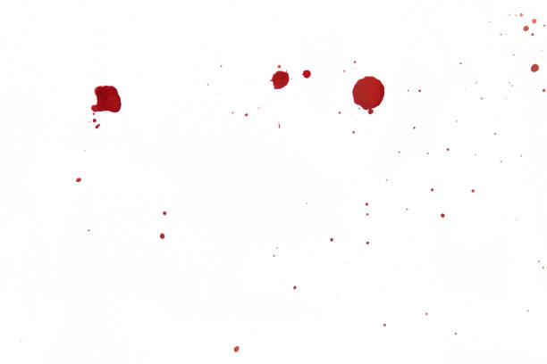 Blood splatters on white background stock photo