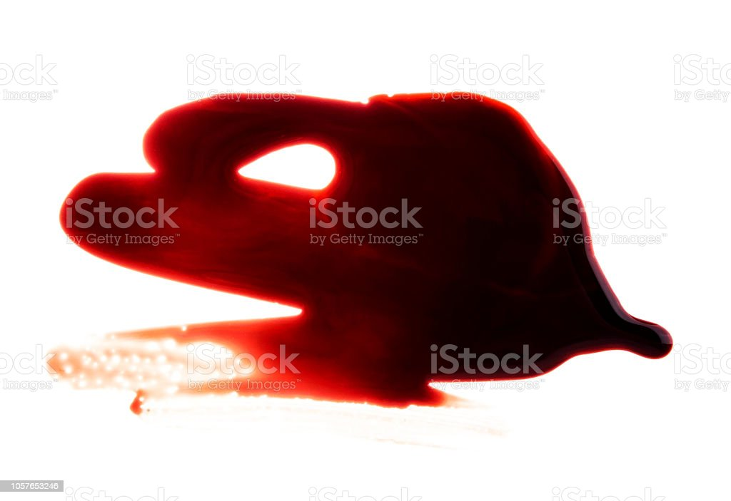 Blood stain on a white background stock photo