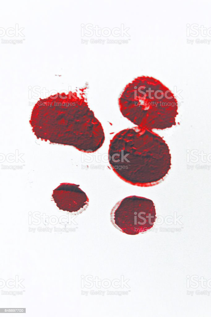 blood stain paint drops red splash horror isolated on white crime scene bloody background liqiud ink stock photo