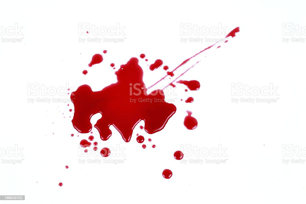 Manchas de sangue isolado no fundo branco 1 - foto de acervo
