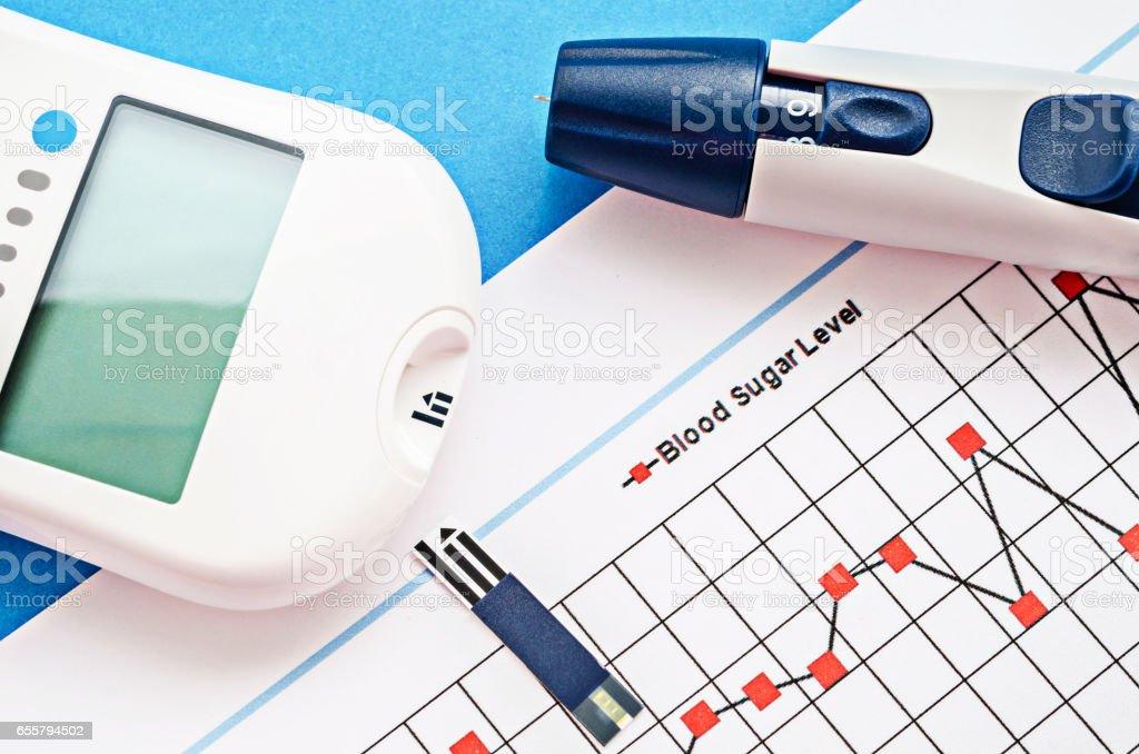 Blood sugar measurement stock photo