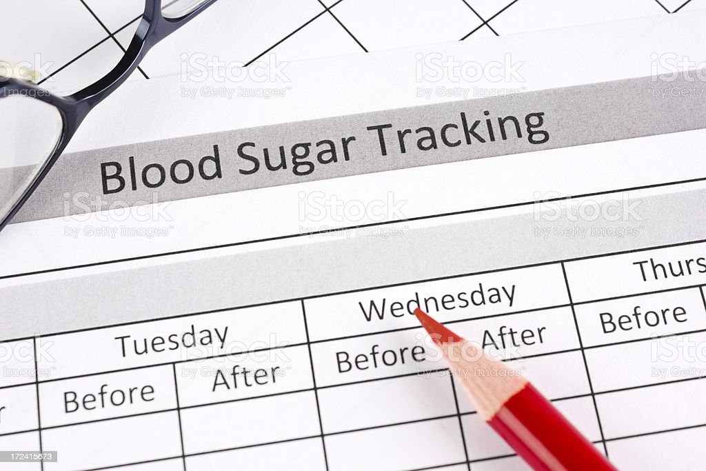 Blood sugar tracking royalty-free stock photo