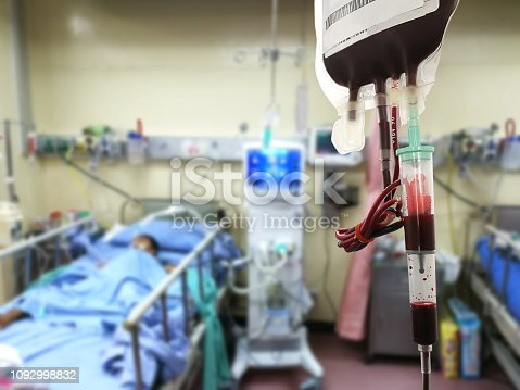 istock Blood supply, blood bags, treatment for patients accident and emergency operating room or patients , blur 1092998832